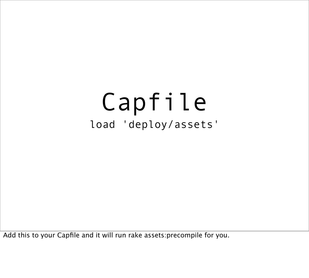 Capfile load 'deploy/assets' Add this to your C...