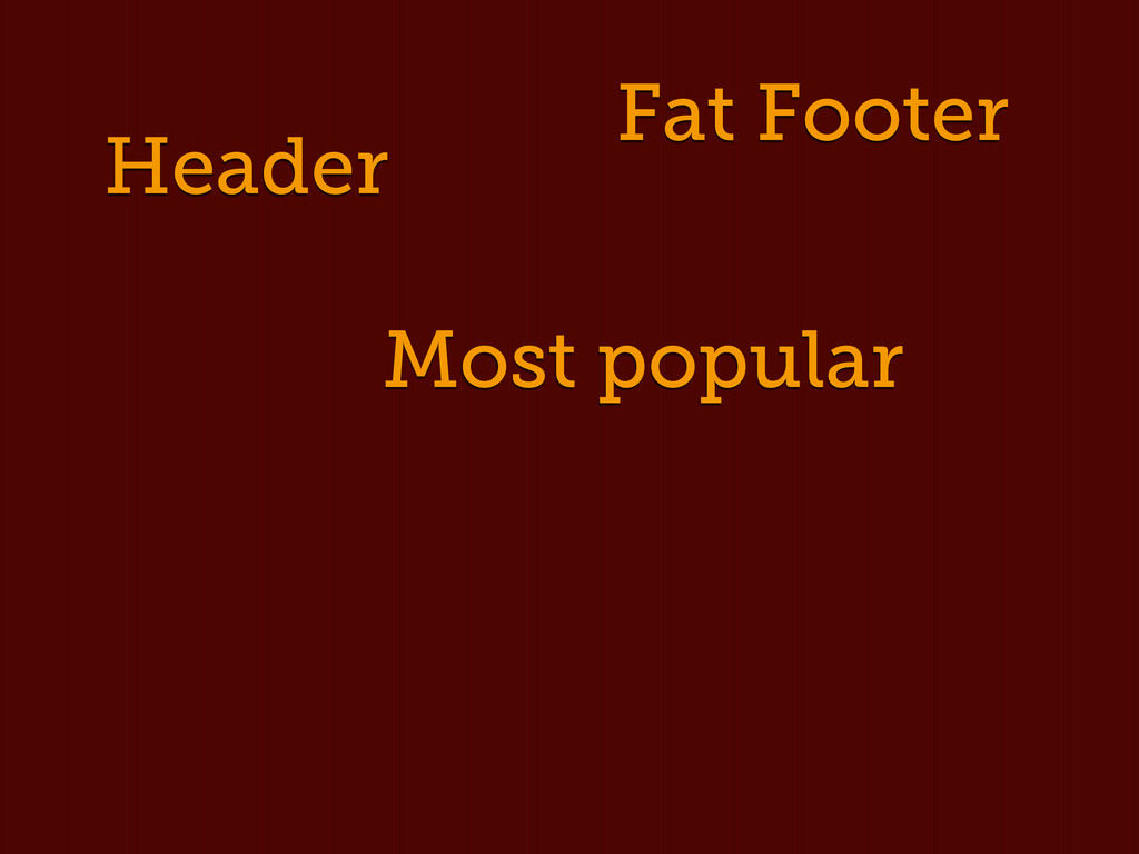 Header Fat Footer Most popular