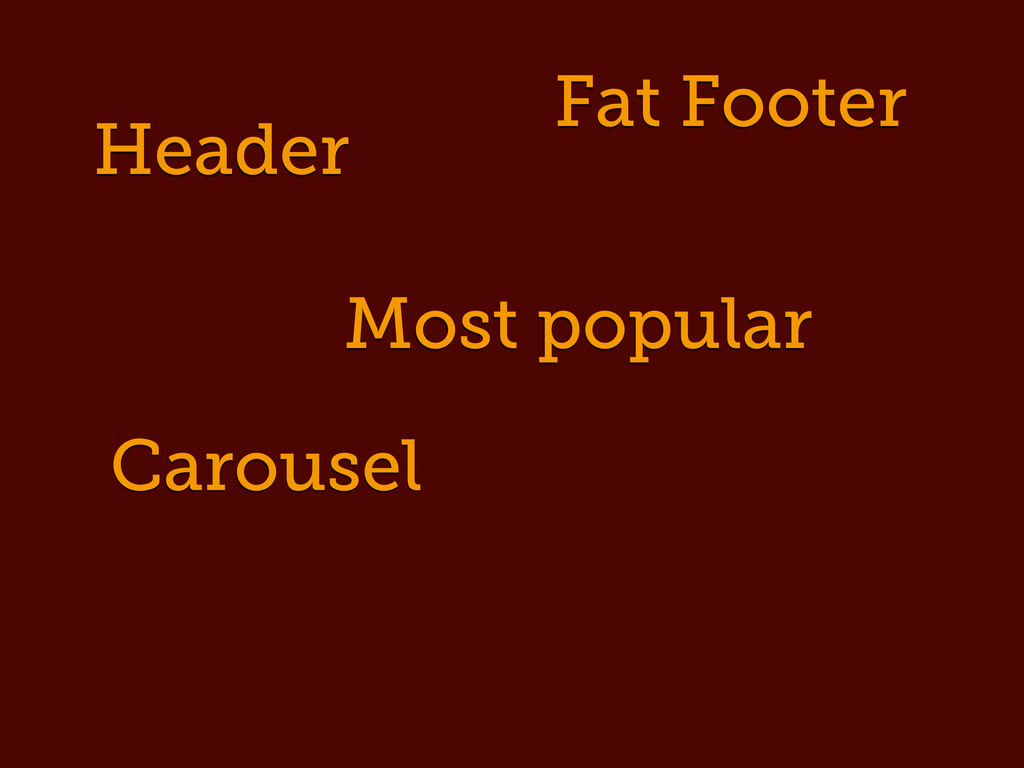 Header Fat Footer Carousel Most popular