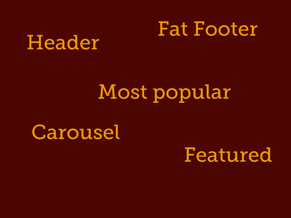 Header Fat Footer Carousel Featured Most popular