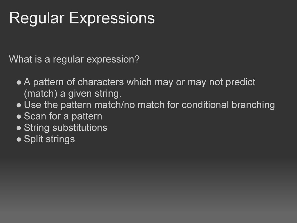 Regular Expressions What is a regular expressio...