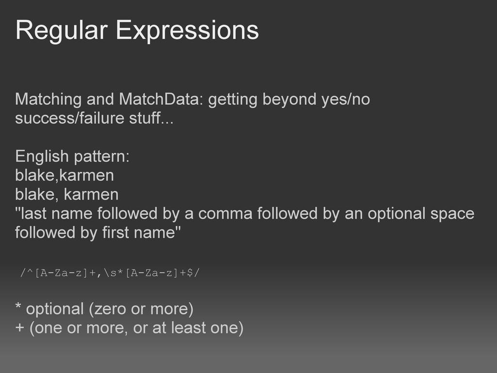 Regular Expressions Matching and MatchData: get...