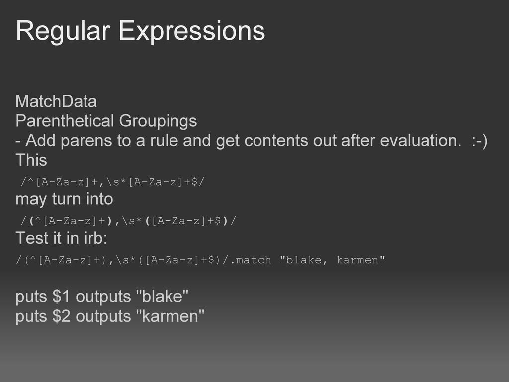 Regular Expressions MatchData Parenthetical Gro...