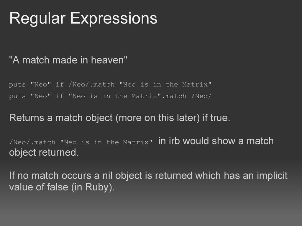 """Regular Expressions """"A match made in heaven"""" pu..."""