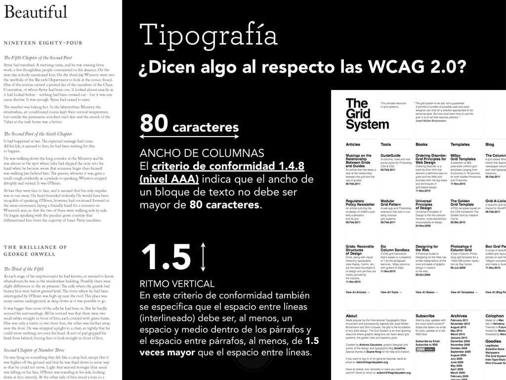 Tipografía ANCHO DE COLUMNAS El criterio de con...