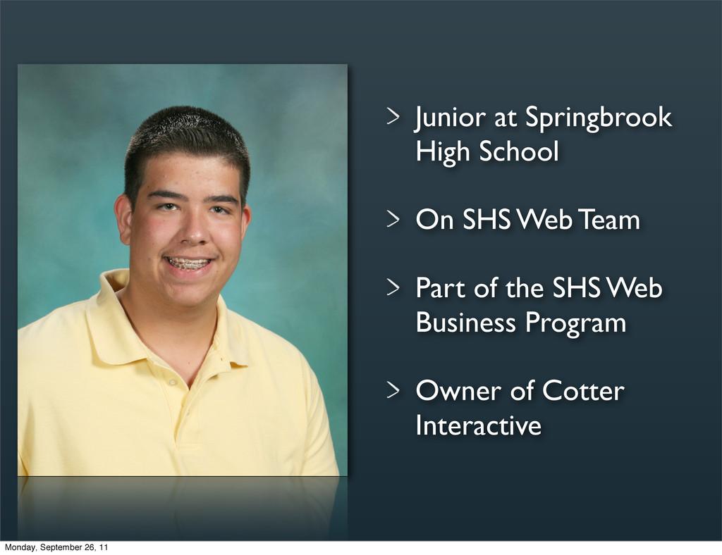 Junior at Springbrook High School On SHS Web Te...