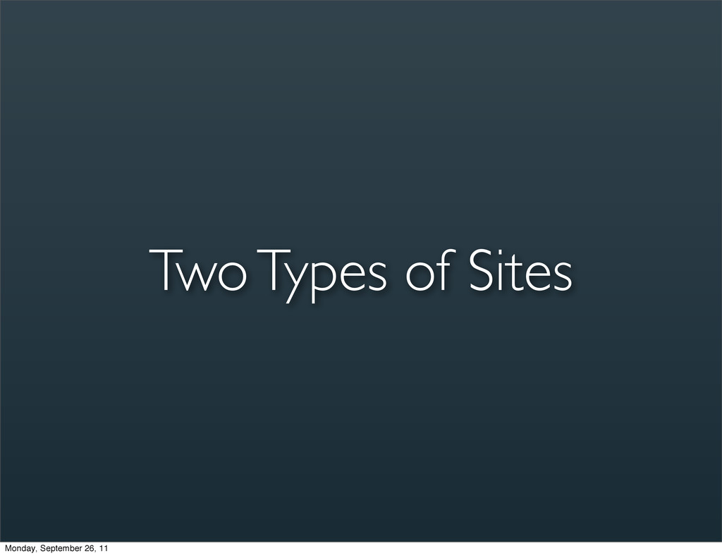 Two Types of Sites Monday, September 26, 11