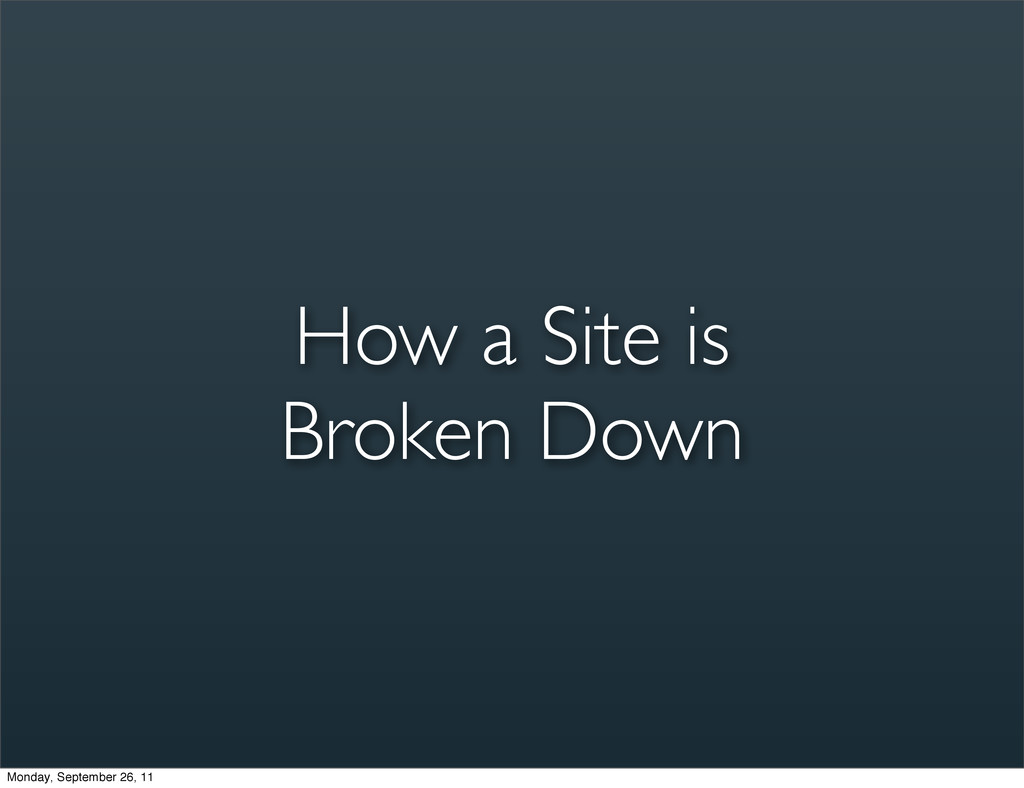 How a Site is Broken Down Monday, September 26,...