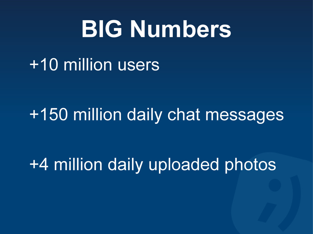 BIG Numbers +10 million users +150 million dail...