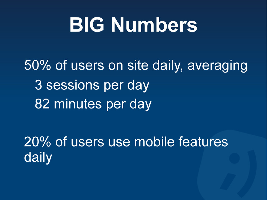 BIG Numbers 50% of users on site daily, averagi...