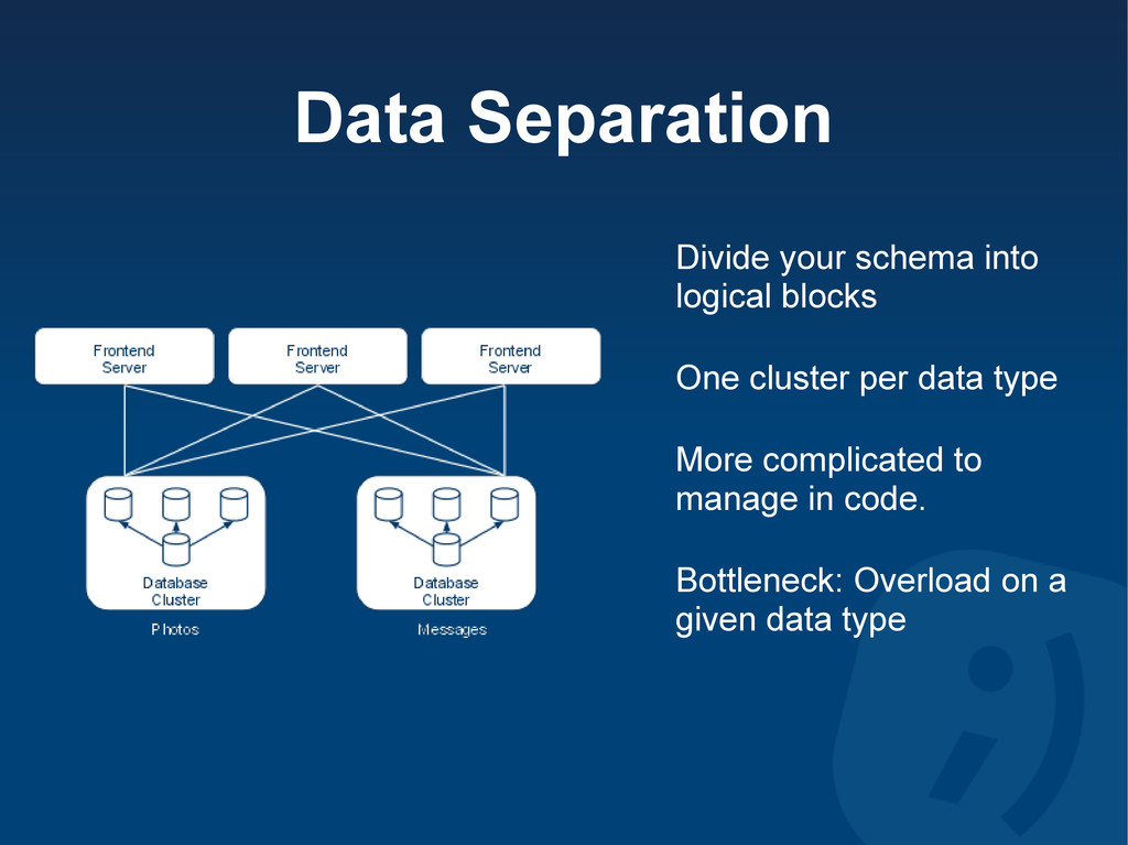 Data Separation Divide your schema into logical...