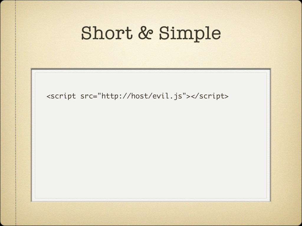 "<script src=""http://host/evil.js""></script> Sho..."
