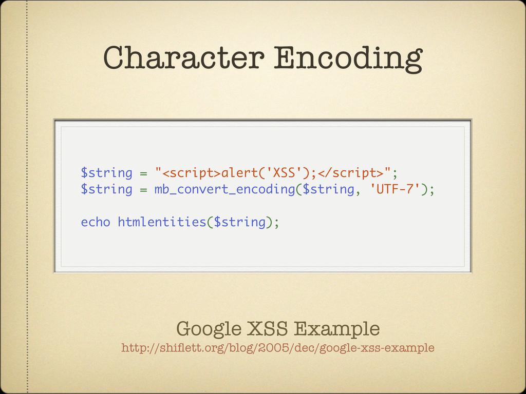 "$string = ""<script>alert('XSS');</script>""; $st..."