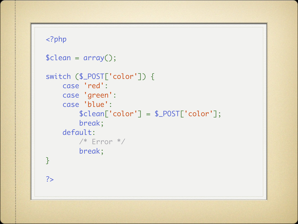 <?php $clean = array(); switch ($_POST['color']...