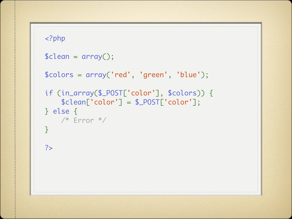 <?php $clean = array(); $colors = array('red', ...