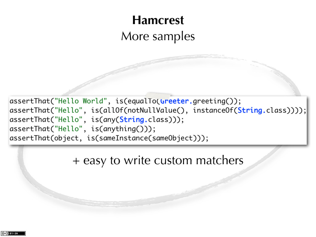 Hamcrest More samples + easy to write custom ma...