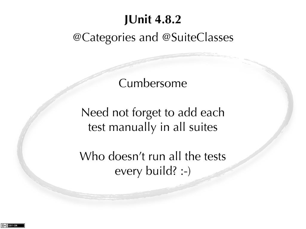 @Categories and @SuiteClasses JUnit 4.8.2 Cumbe...