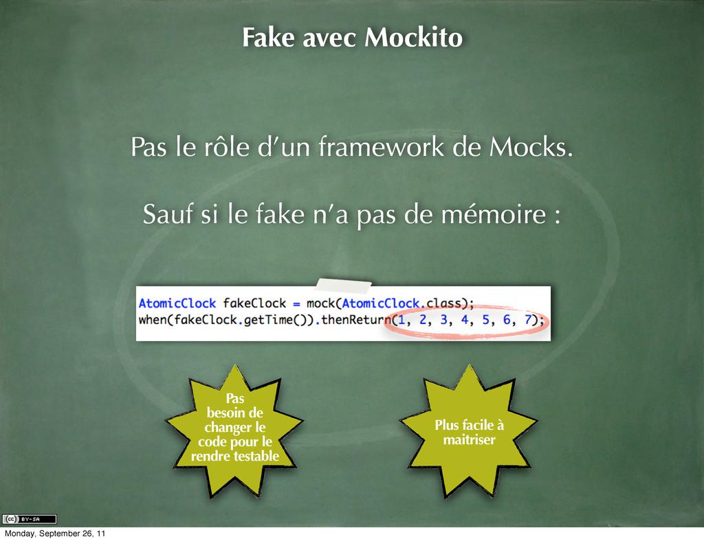 Fake avec Mockito Pas le rôle d'un framework de...
