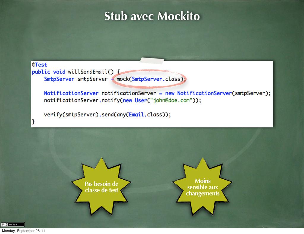 Stub avec Mockito Pas besoin de classe de test ...
