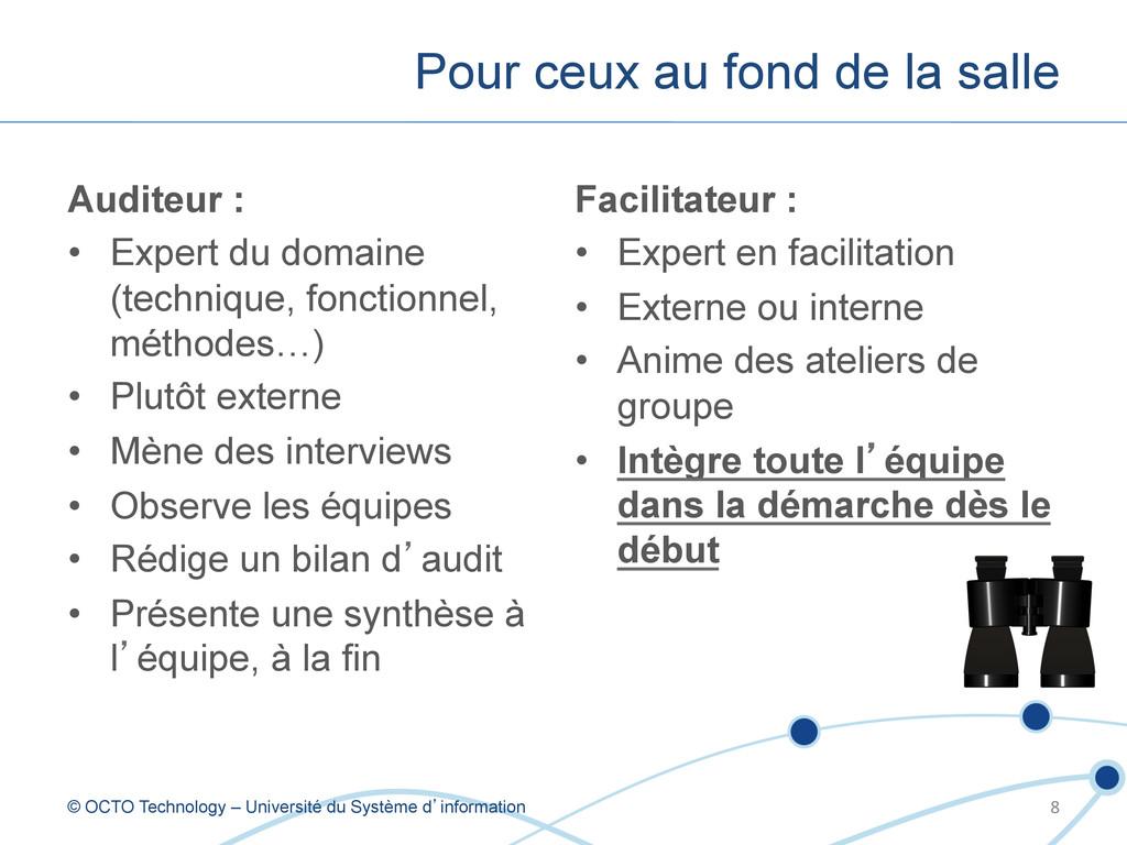 Auditeur : • Expert du domaine (technique, fon...