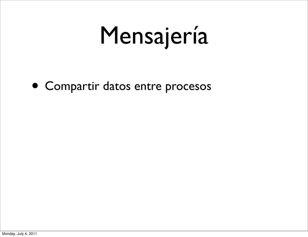 Mensajería • Compartir datos entre procesos Mon...