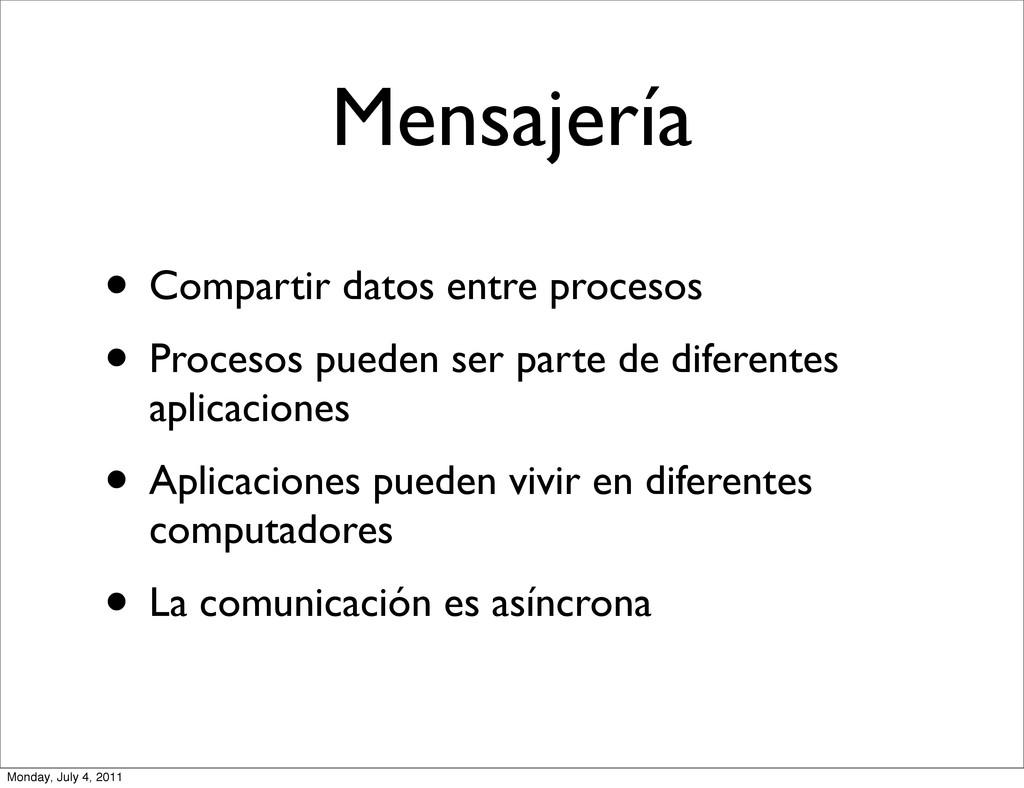 Mensajería • Compartir datos entre procesos • P...