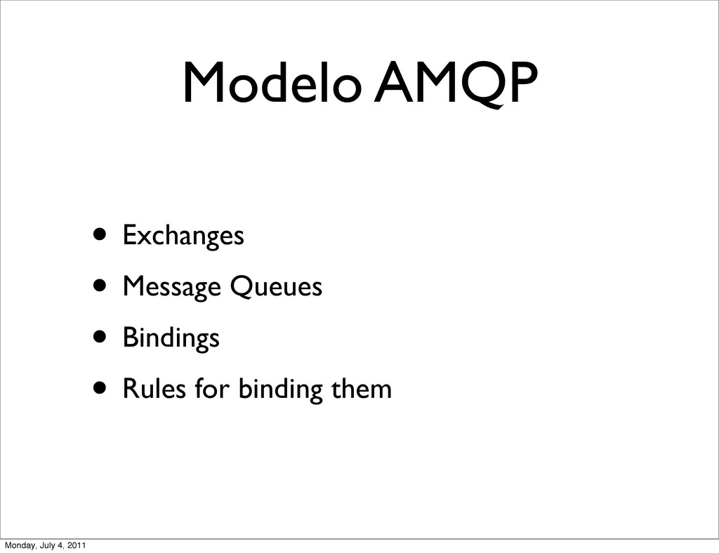 Modelo AMQP • Exchanges • Message Queues • Bind...