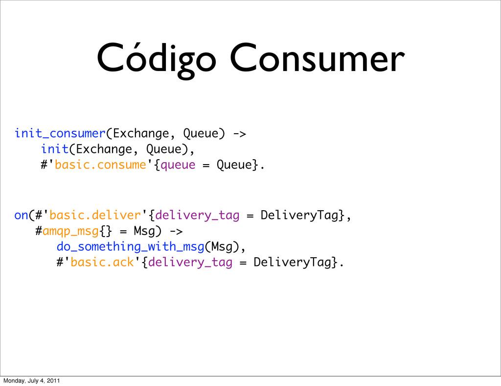 Código Consumer init_consumer(Exchange, Queue) ...