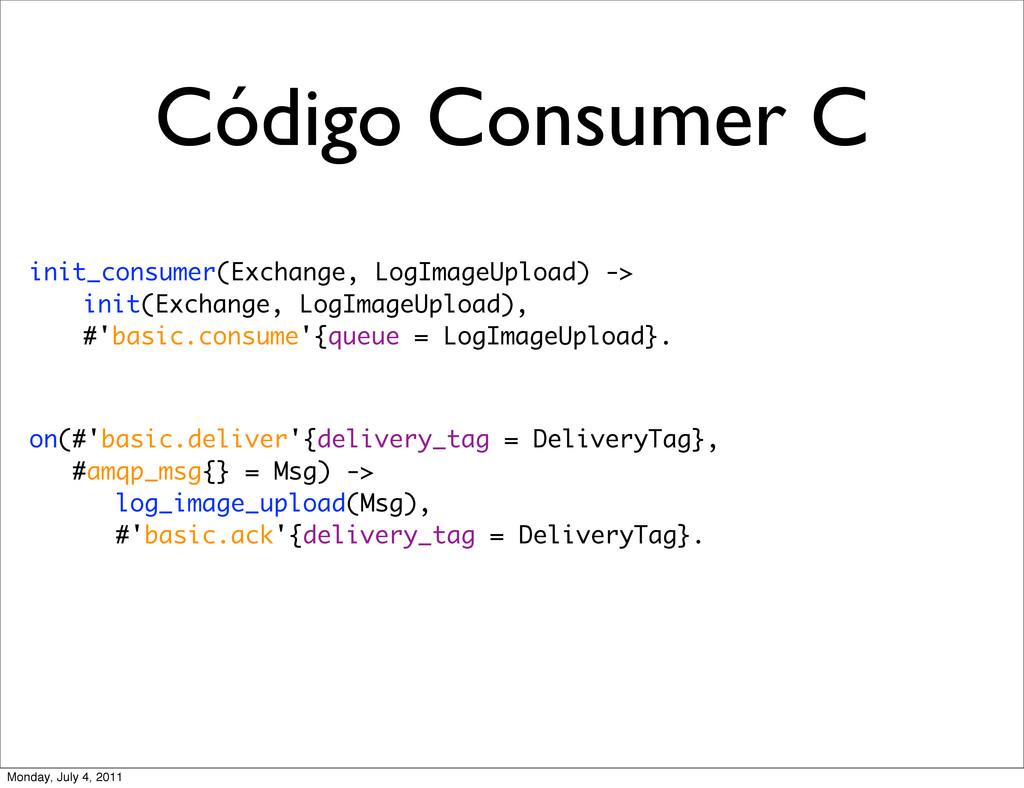 Código Consumer C init_consumer(Exchange, LogIm...