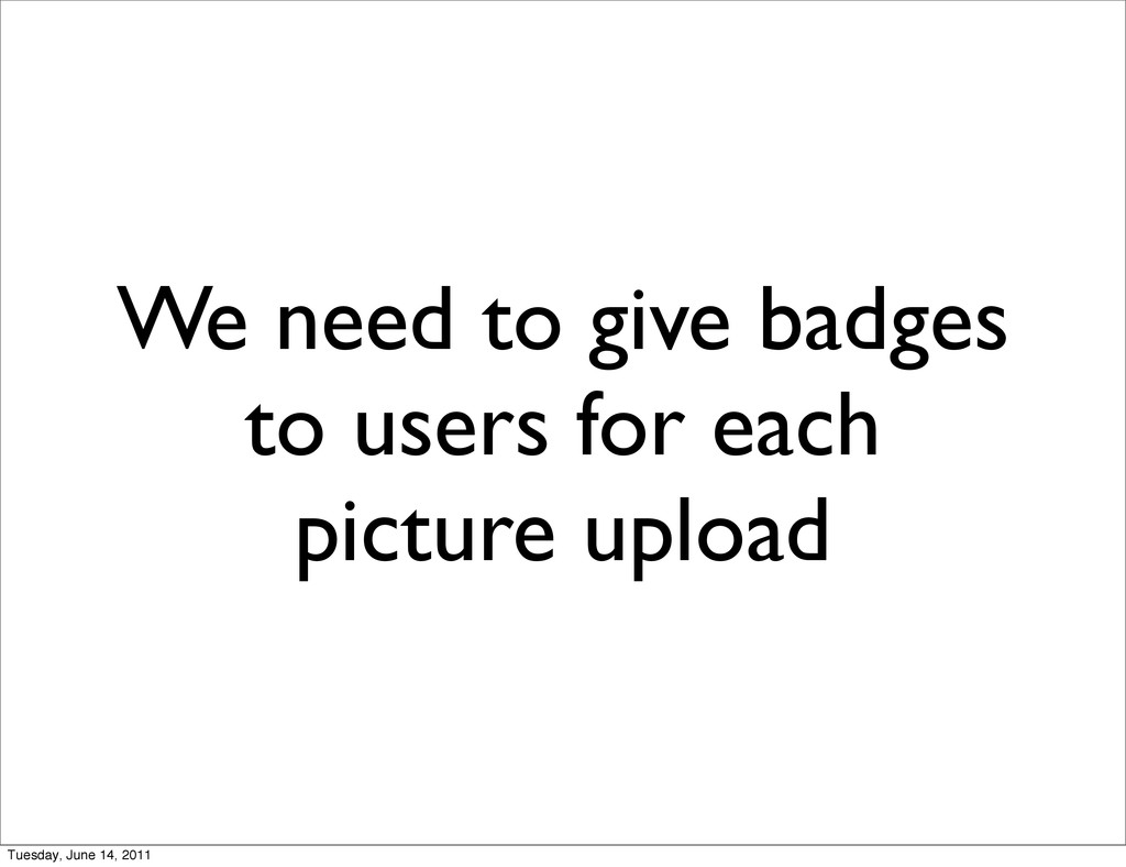 We need to give badges to users for each pictur...
