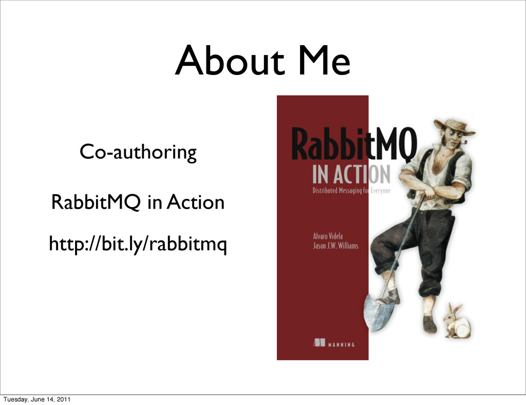 About Me Co-authoring RabbitMQ in Action http:/...