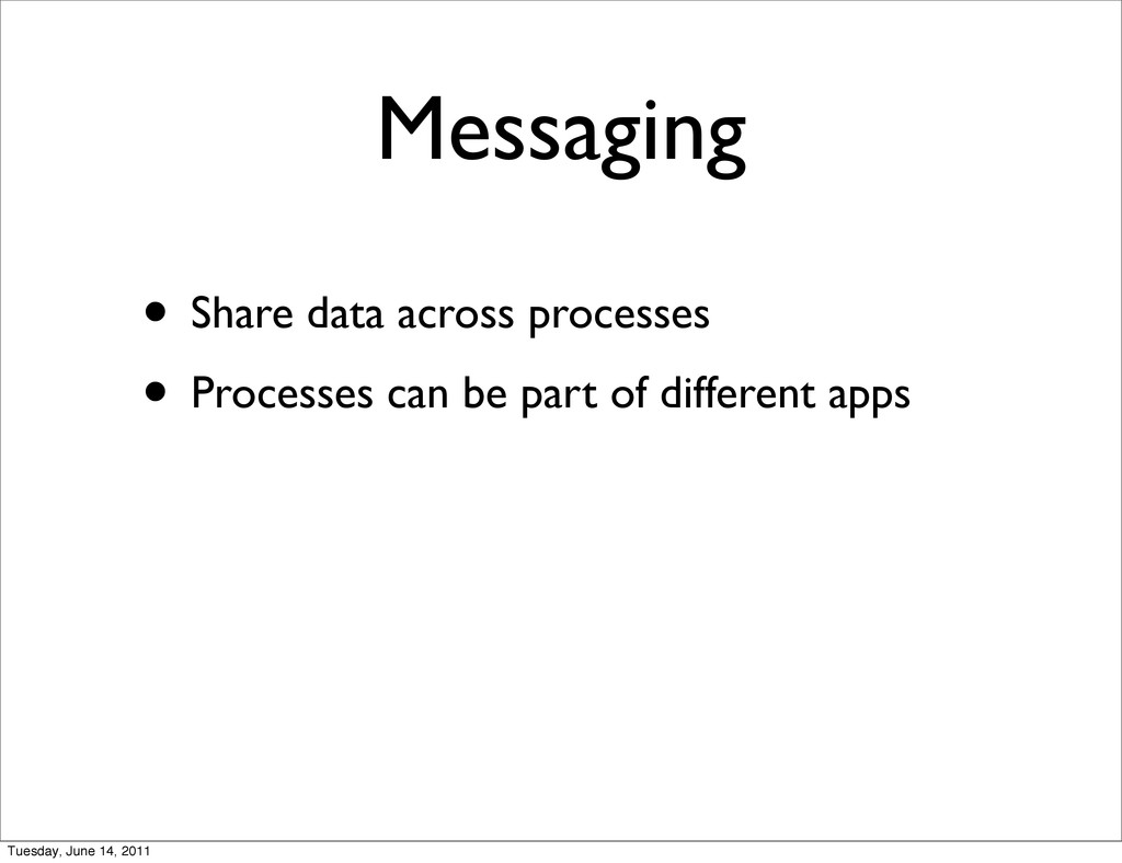 Messaging • Share data across processes • Proce...