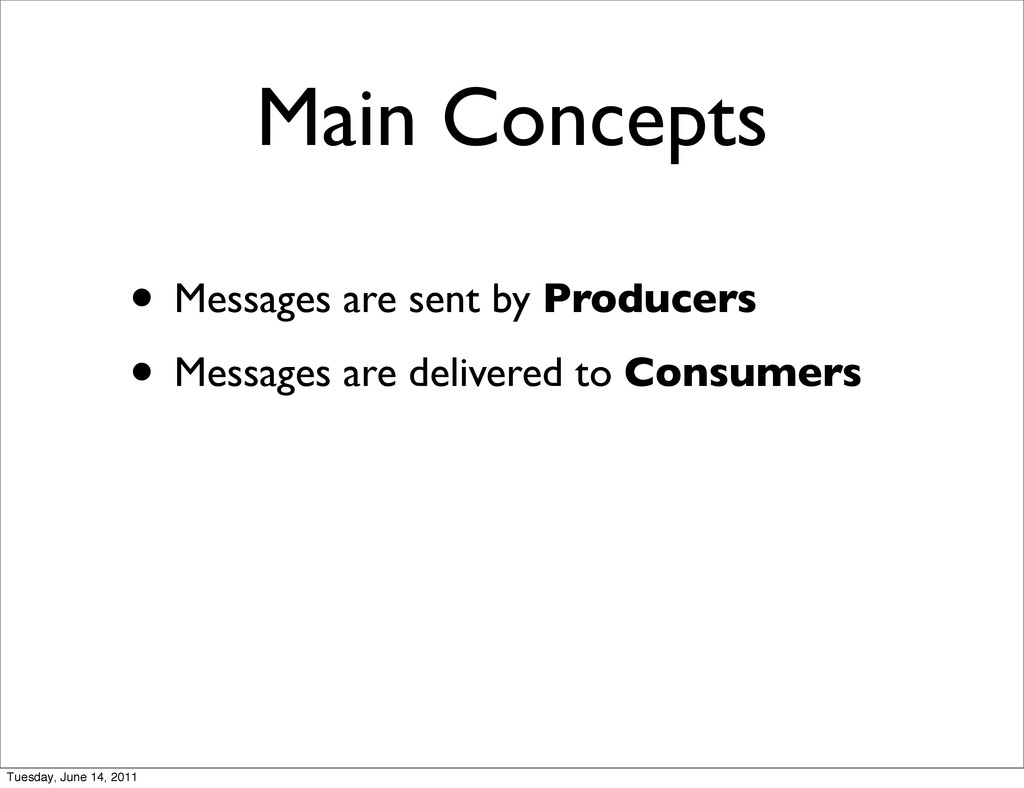 Main Concepts • Messages are sent by Producers ...