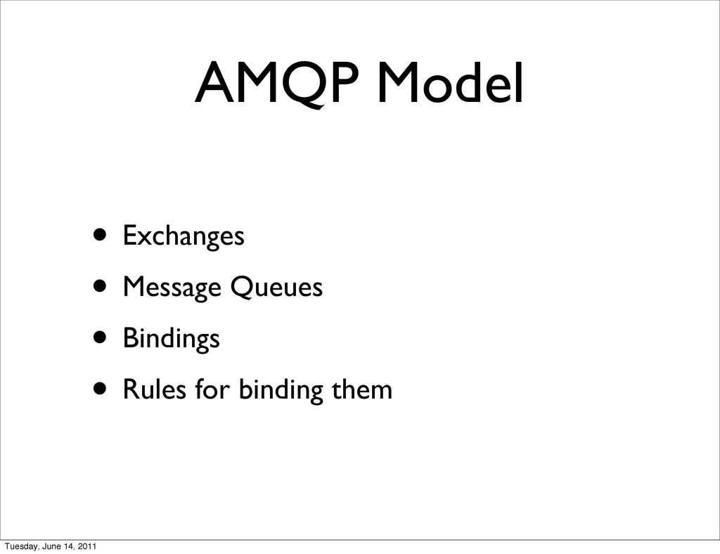 AMQP Model • Exchanges • Message Queues • Bindi...