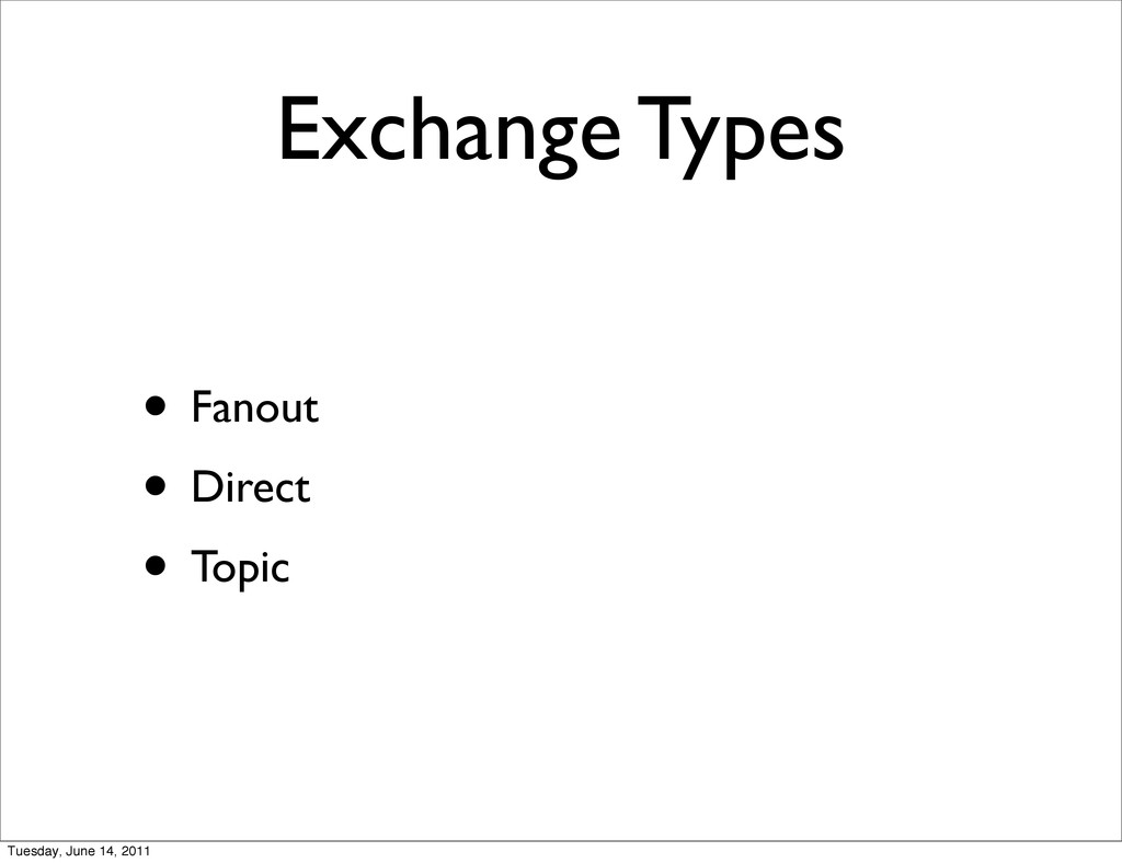 Exchange Types • Fanout • Direct • Topic Tuesda...