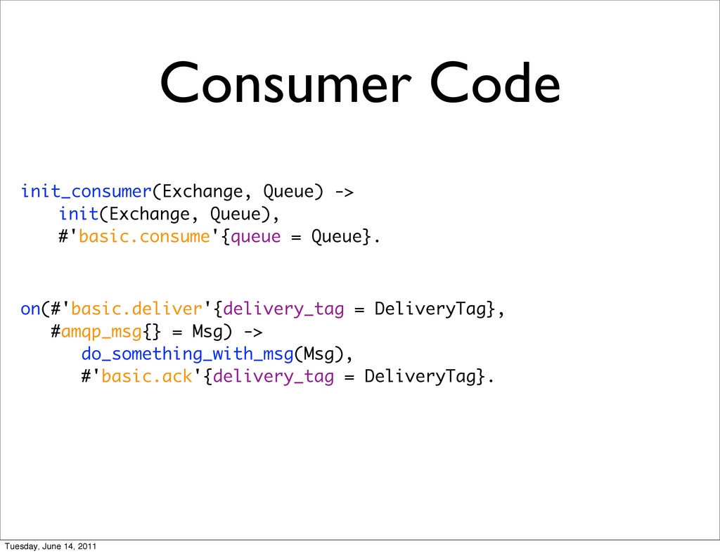 Consumer Code init_consumer(Exchange, Queue) ->...