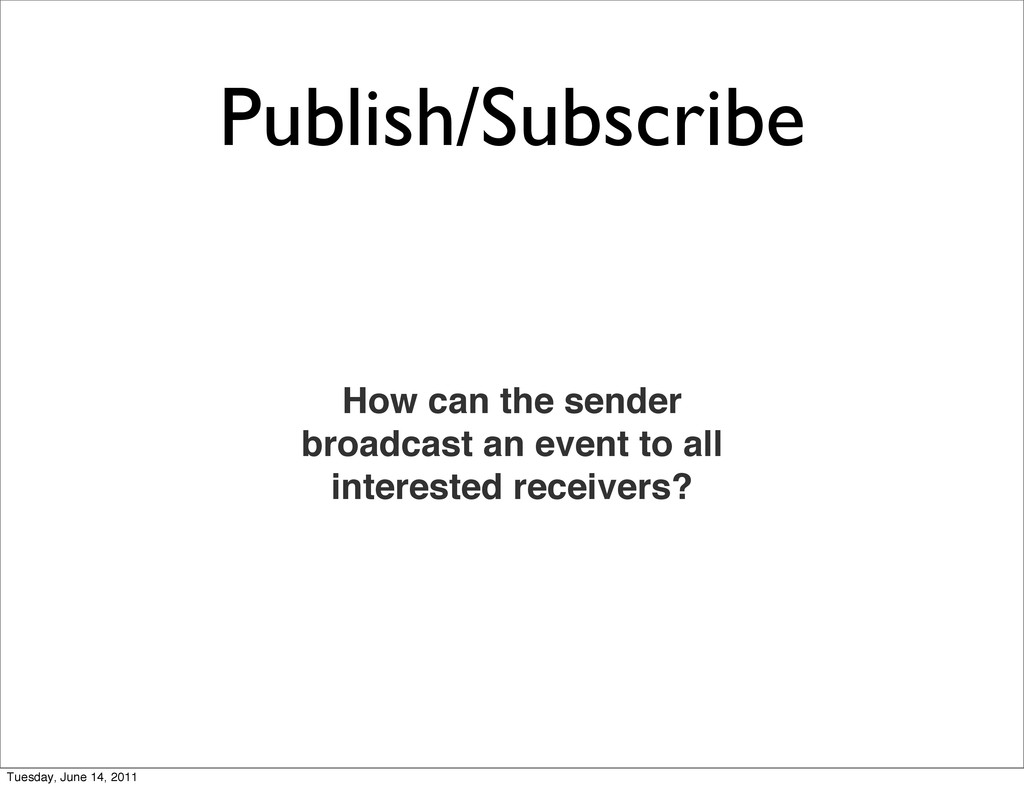 Publish/Subscribe How can the sender broadcast ...