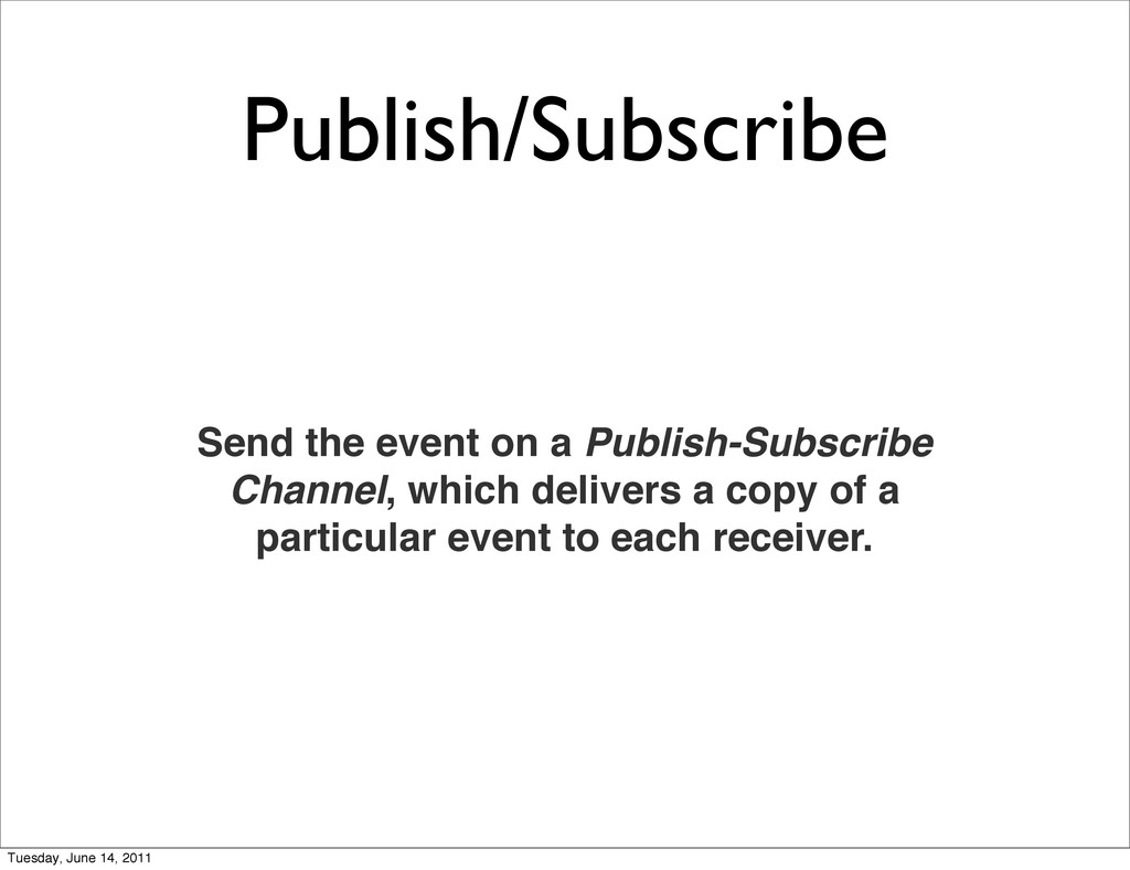 Publish/Subscribe Send the event on a Publish-S...