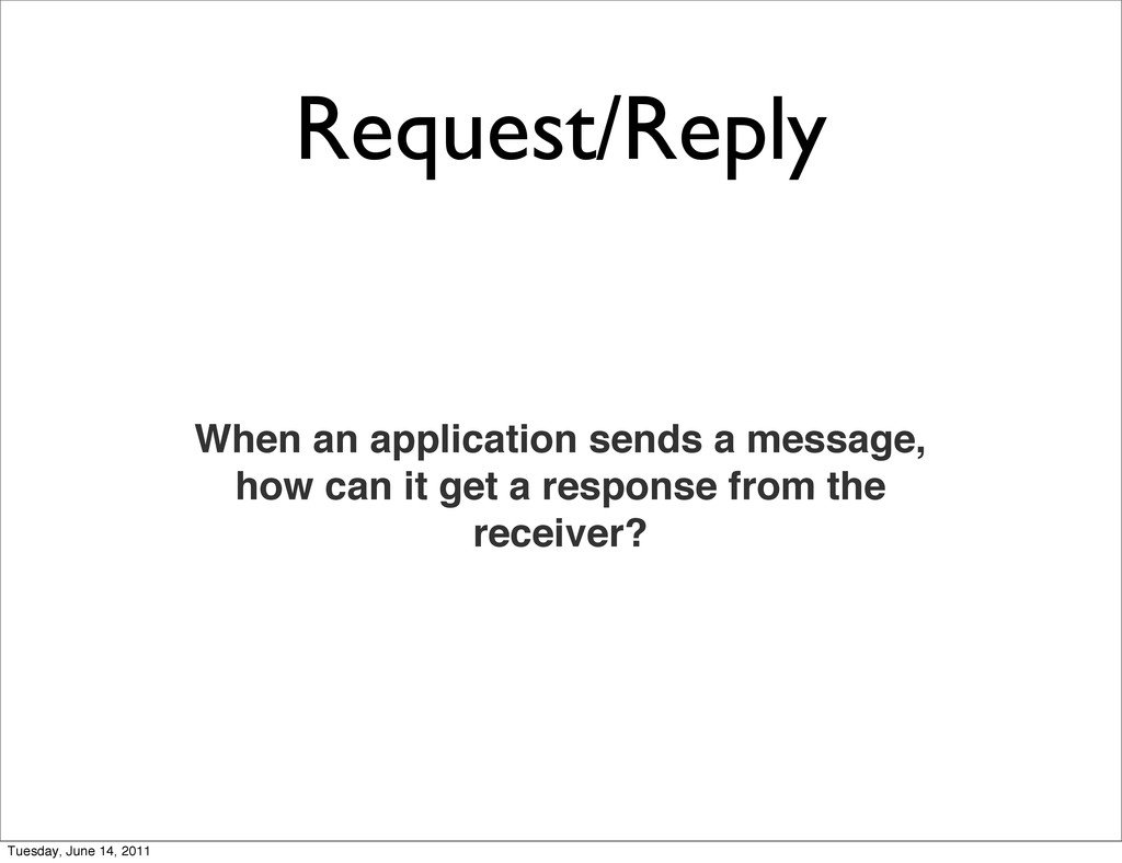 Request/Reply When an application sends a messa...