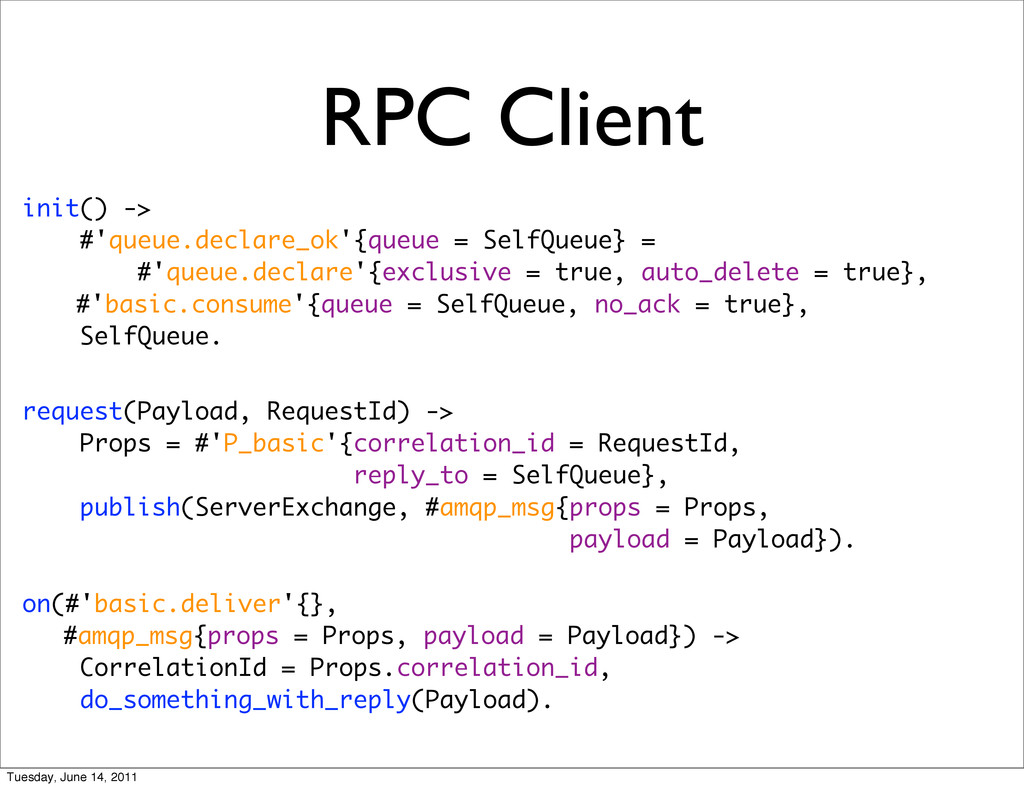RPC Client init() -> #'queue.declare_ok'{queue ...