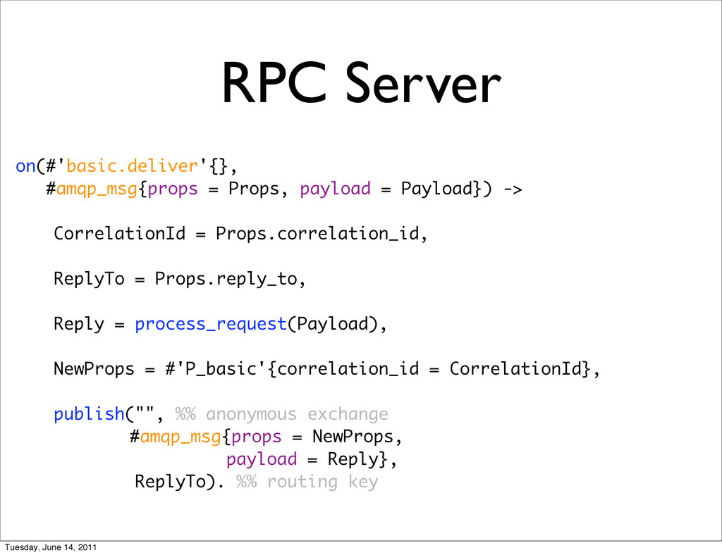 RPC Server on(#'basic.deliver'{}, #amqp_msg{pro...