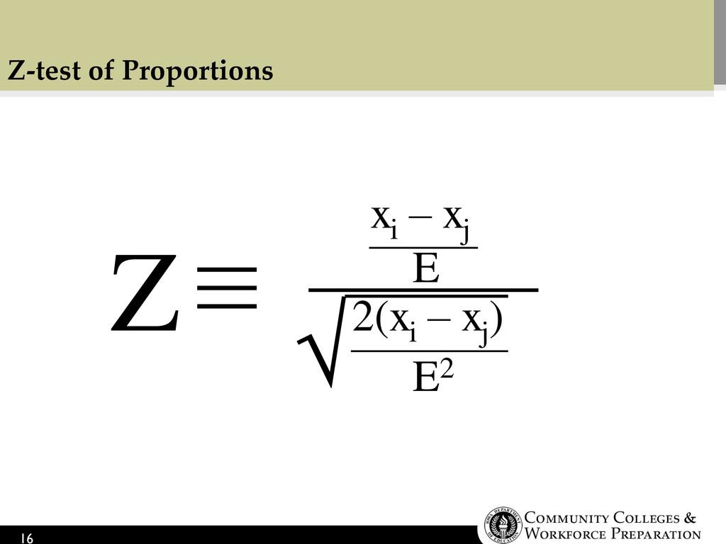 Z-test of Proportions 16 xi – xj 2(xi – xj ) Z ...