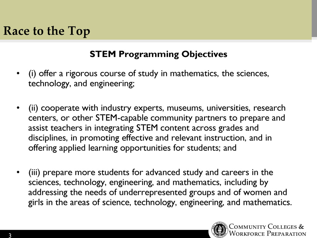 Race to the Top STEM Programming Objectives • (...