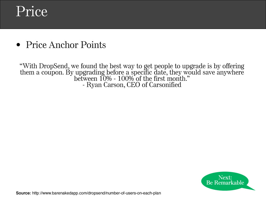 """Price • Price Anchor Points """"With DropSend, we ..."""