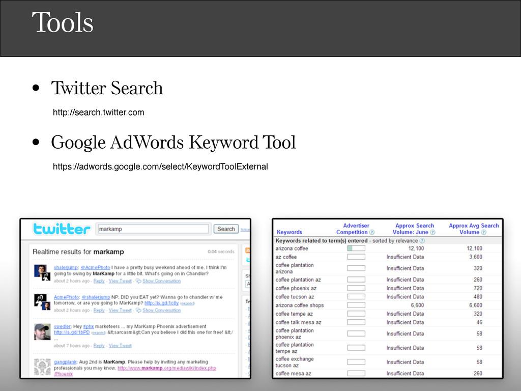 Tools • Twitter Search • Google AdWords Keyword...
