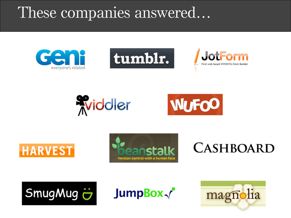 These companies answered…