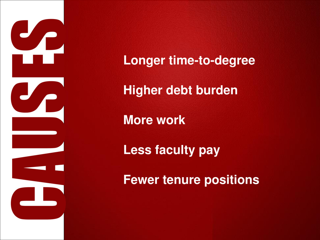 Longer time-to-degree Higher debt burden More w...