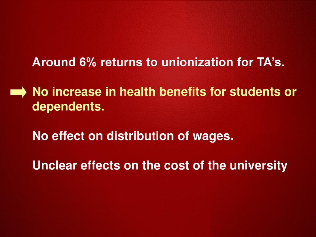 Around 6% returns to unionization for TA's. No ...