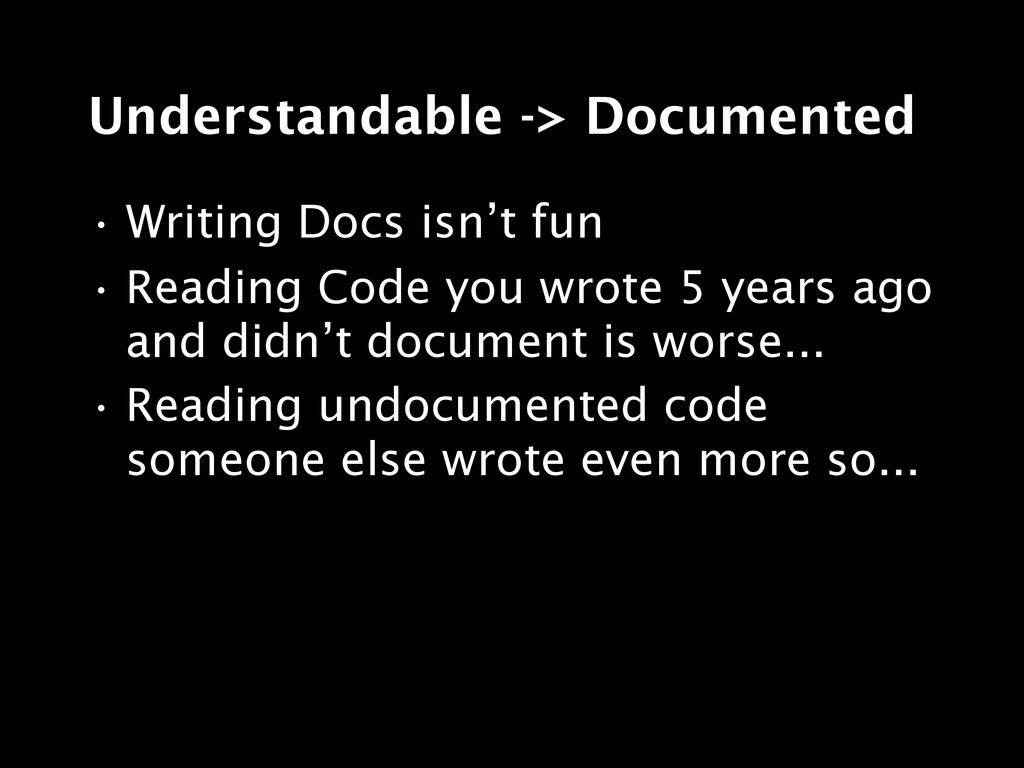 Understandable -> Documented • Writing Docs isn...