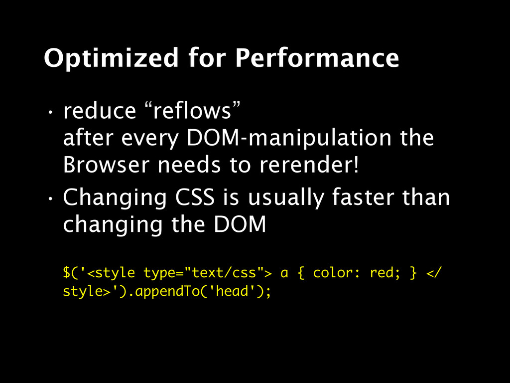 """Optimized for Performance • reduce """"reflows"""" af..."""